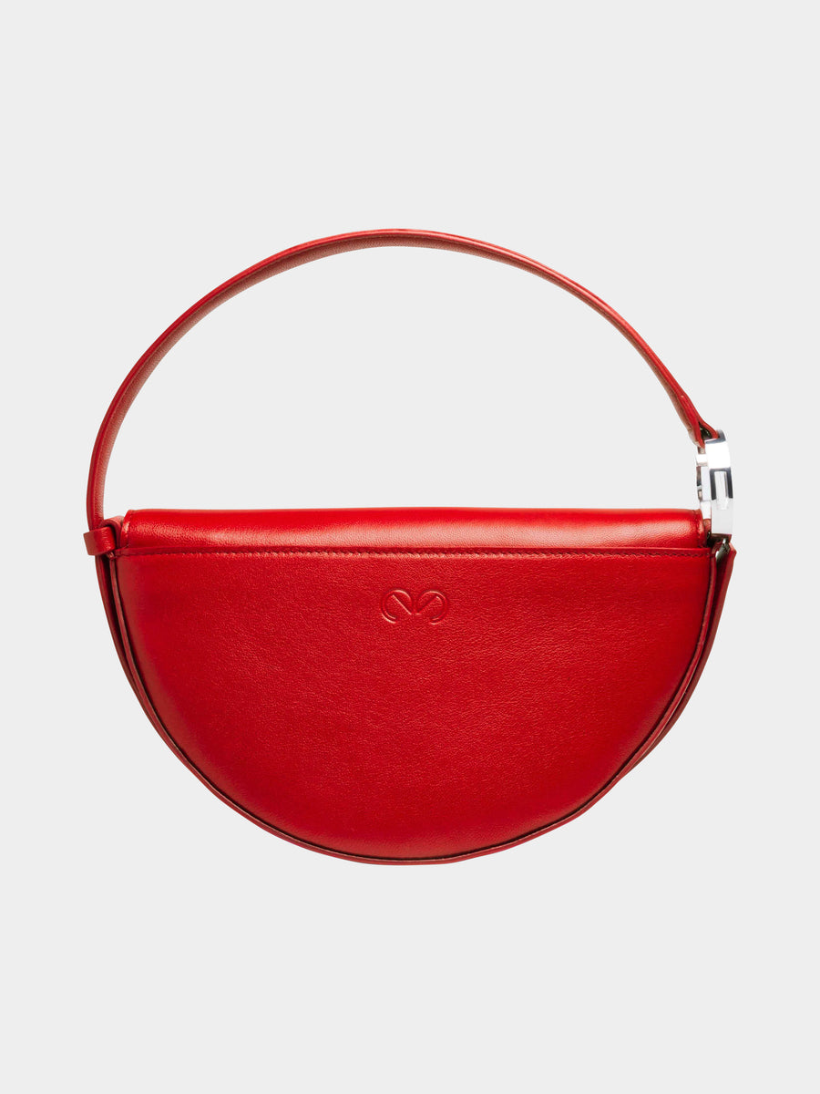 Dooz Aries Céleste leather handbag in color Red (back view with stamp)