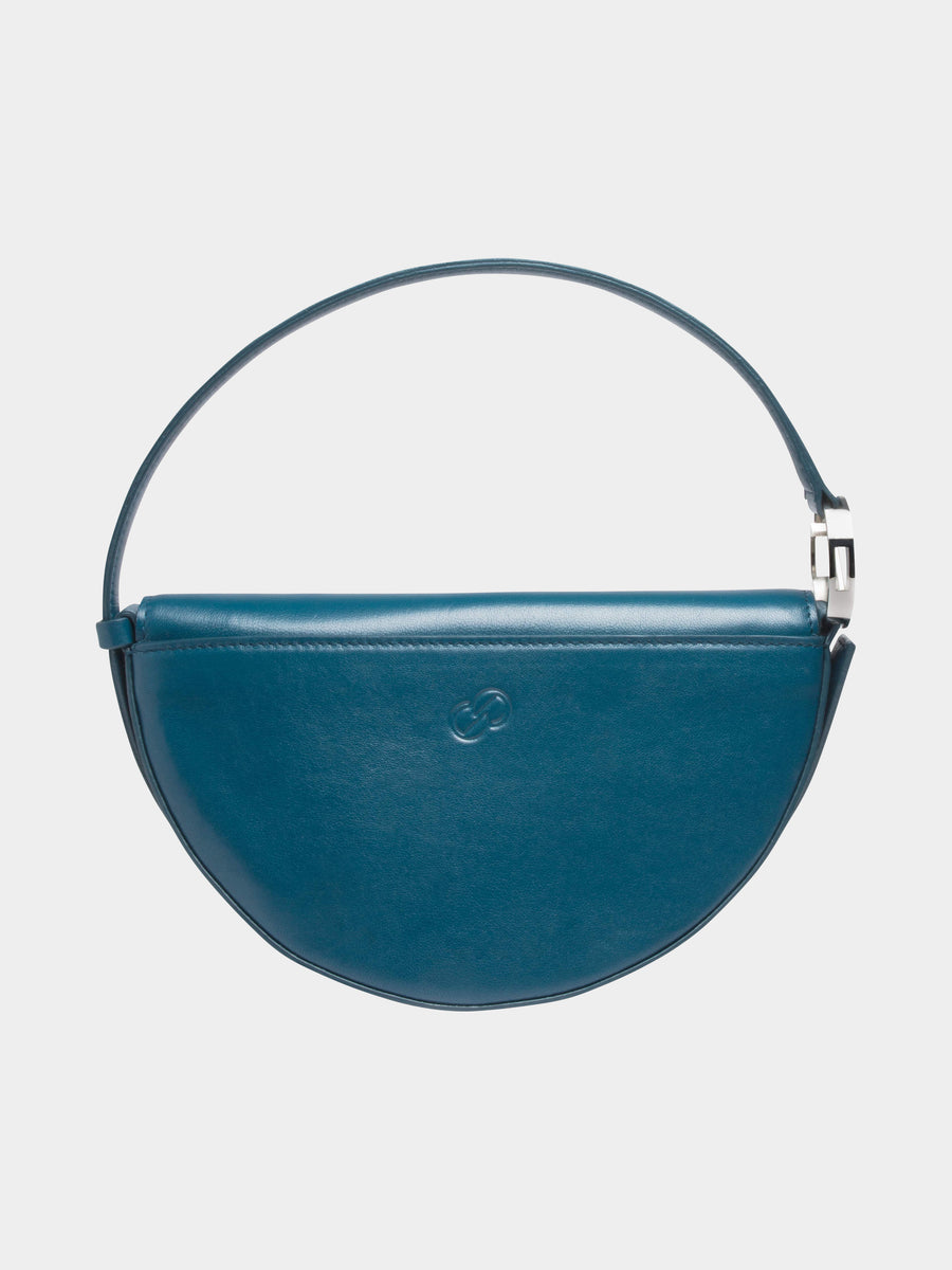 Dooz Cancer Céleste leather handbag in color Dark Teal (back view with stamp)