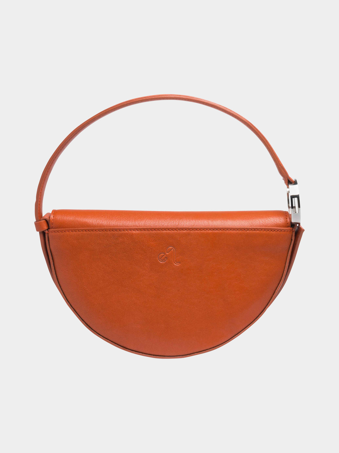 Dooz Leo Céleste leather handbag in color Rust (back view with stamp)