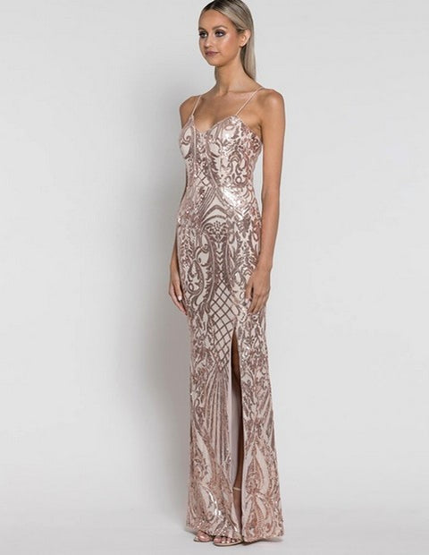 Bariano B38D36L Colette Gown GOLD