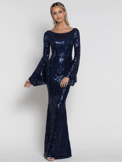 Bariano B38D39L Abigail Bell Sleeve Sequin Gown NAVY