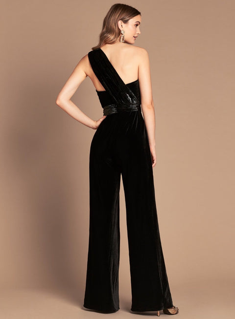 Love Honor LH1332 Claudia Velvet Jumpsuit BLACK