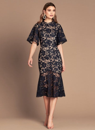 Love Honor LH1228-1 Evie Lace Midi NAVY