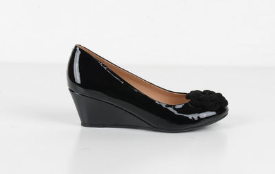 Neo Janice Patent Wedge BLACK