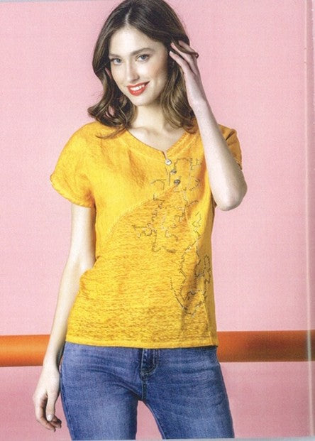 Kalisson KA19V068 Linen Mix Top MUSTARD