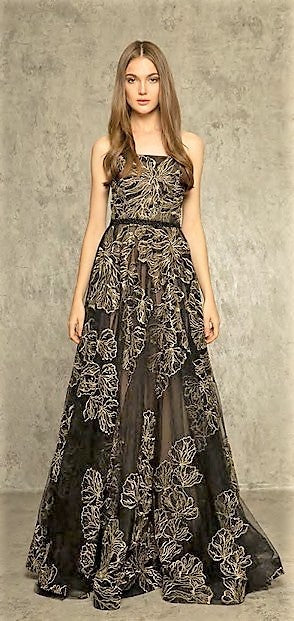 Bronx and Banco Flora Strapless Gown BLACK/GOLD