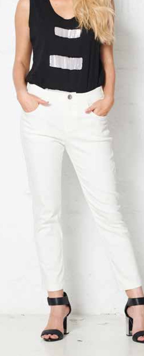 Holmes and Fallon HF1752 Side-Stitched Jean WHITE