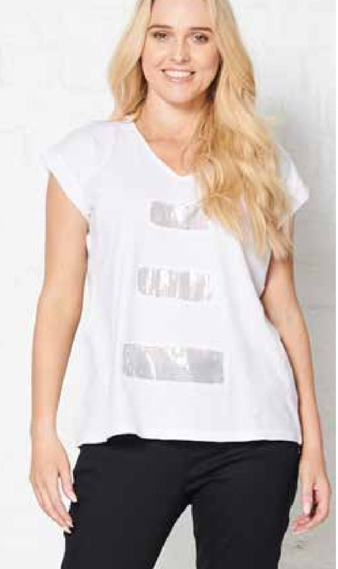 Holmes and Fallon HF1733 Sequin Tee WHITE