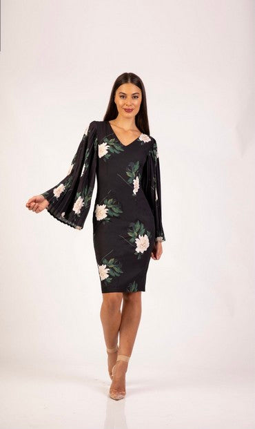PSM RD204102P Ava Pleat Sleeve Dress BLACK