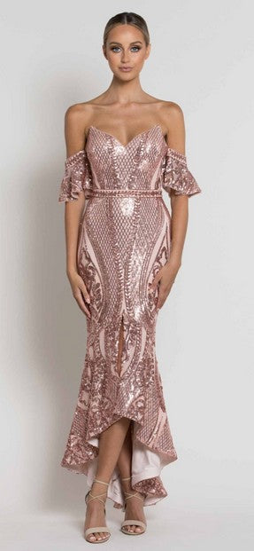 Bariano B39D29HL Chandra Off-Shoulder Sequin Midi MUSK