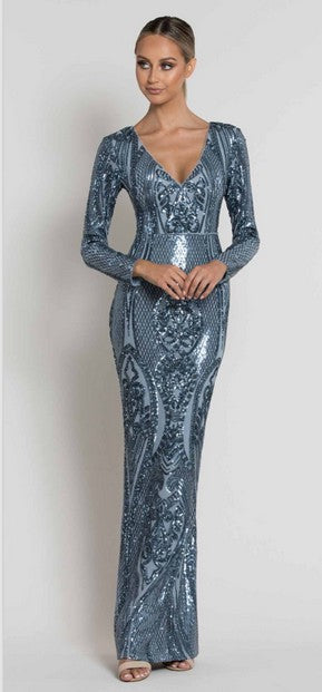 Bariano B39D28L Belinda Sequin Gown BLUE