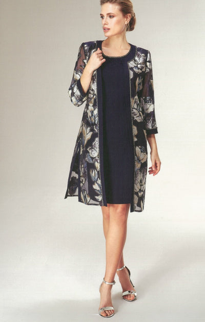 Nazzan 2214 Mirella Print Coat and Dress NAVY