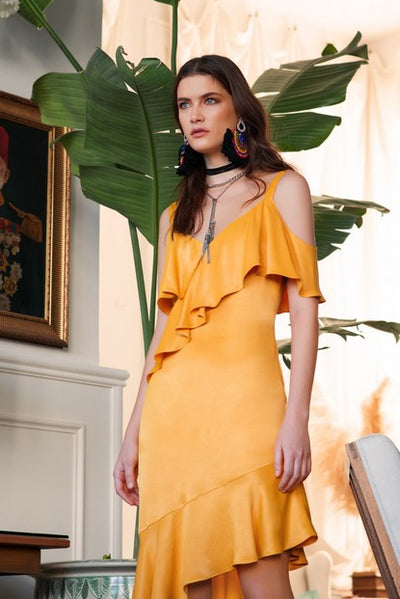 Mianotte 1771 Sally Asymmetrical Dress MUSTARD