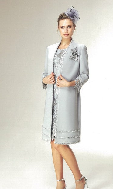 Nazzan 2226 Marina Coat and Lace Dress GREY