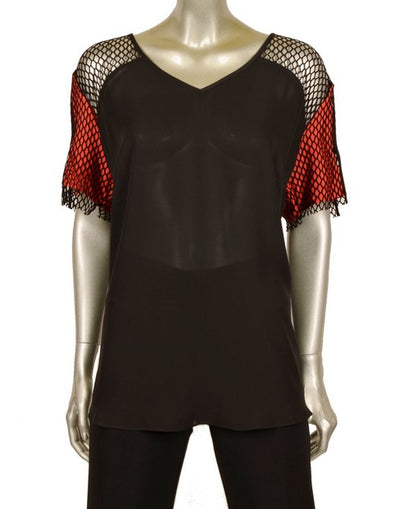 Neri 20614 Ava Mesh Sleeve Top BLACK