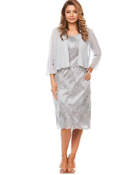 PSM JH0250 Sequin Dress and Jacket SILVER