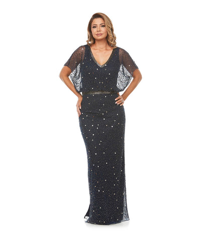 PSM JH0262 Beaded Blouson Gown NAVY