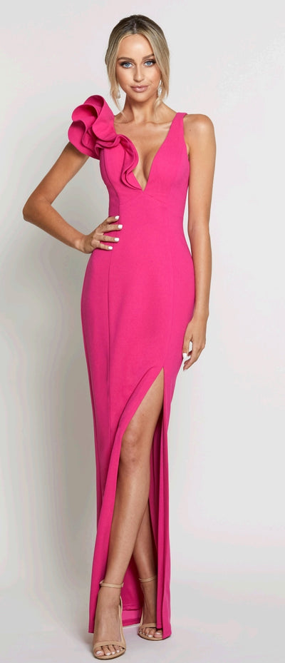 Bariano B40D20L Poppy Ruffle Shoulder Gown PINK