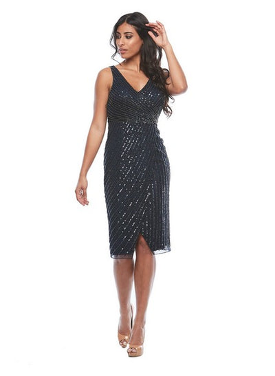 PSM Z0185 Nadine Beaded Dress BLACK