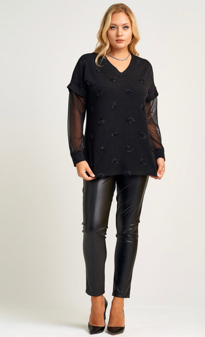 Neri 21098 Mixmedia Top BLACK
