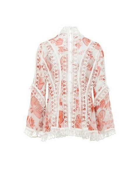 Thurley Oriental Chintz Top CORAL