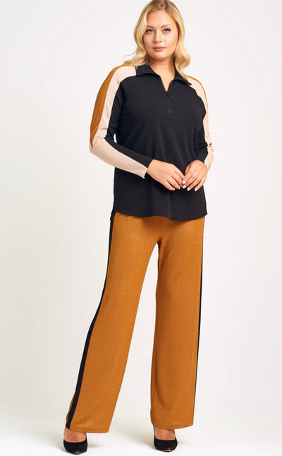 Neri 21051 Saffron Top and Pant Set BLACK