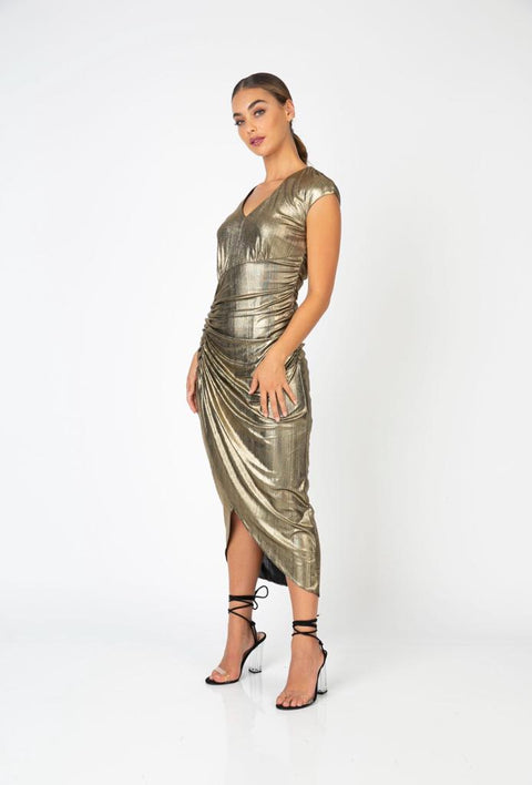 PSM RD230210 Moonshine Cap Sleeve Dress GOLD