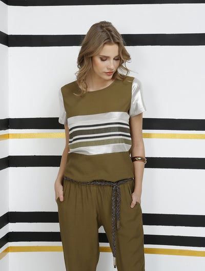 Miarte 11878 Striped Blouse KHAKI