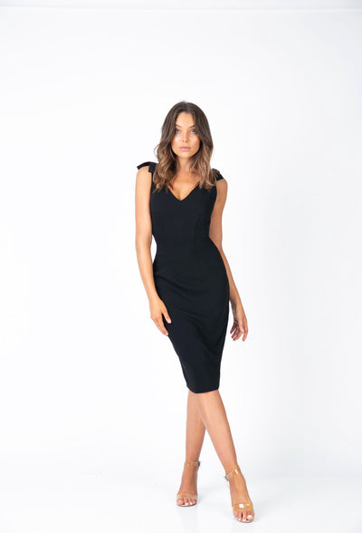 PSM HD203004 Sun Tie Dress BLACK