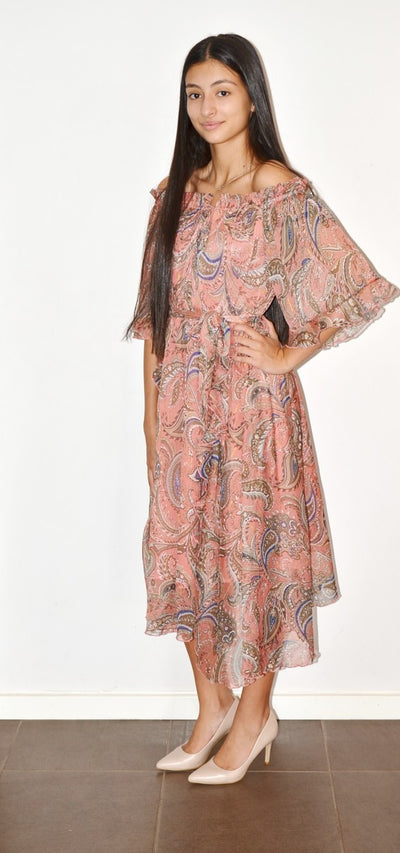 Spicy Sugar LA0448 Print Ruffle Dress PEACH