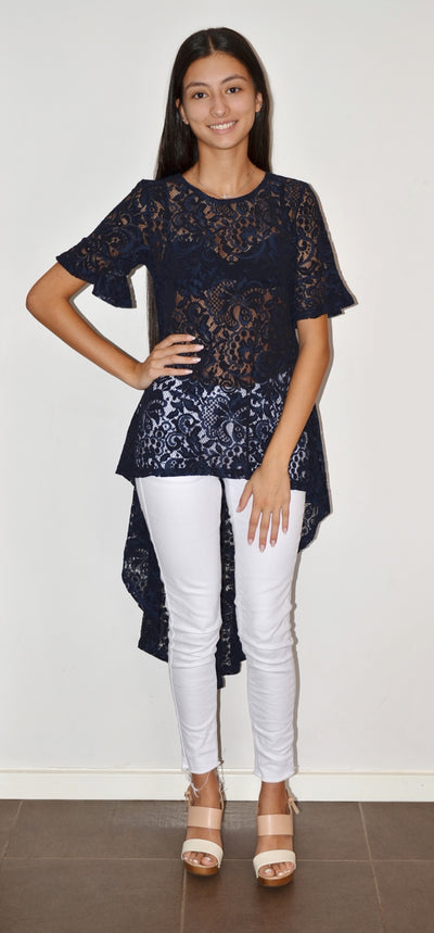 Spicy Sugar LA0042 Lace Tunic NAVY