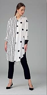 Hukka 4506 Spot and Stripe Tunic BLACK/WHITE