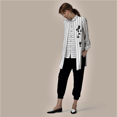Hukka 4805 Stripe Layered Shirt BLACK/WHITE