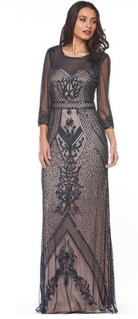 PSM Z0071 Sabine Beaded Gown NAVY