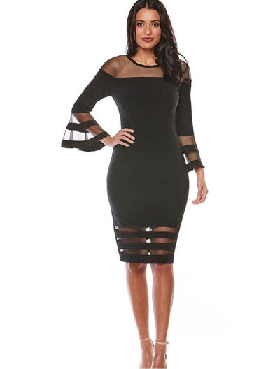 PSM Z0069 Bridget Bell Sleeve Dress BLACK