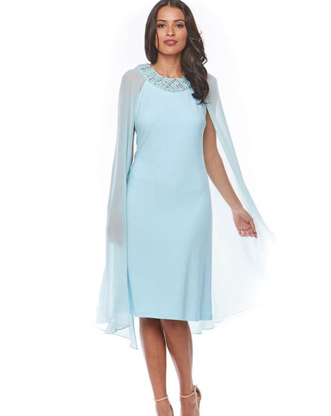 PSM Z0078 Caroline Cape Dress AQUA