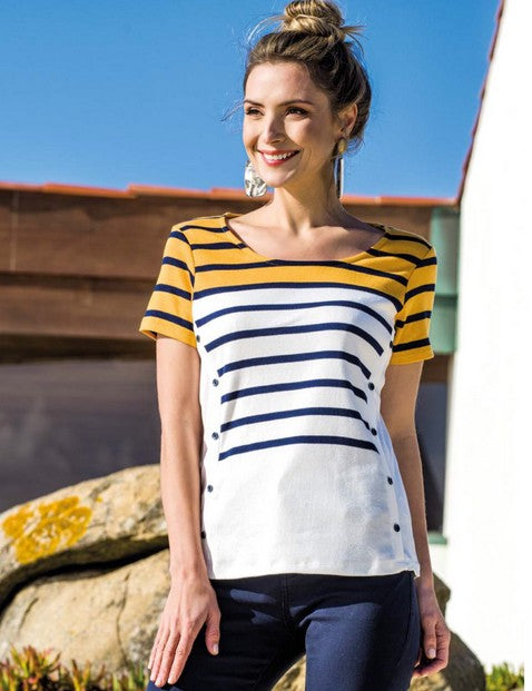 Le Cabestan LC1942 Stripe Top MULTI COLOUR