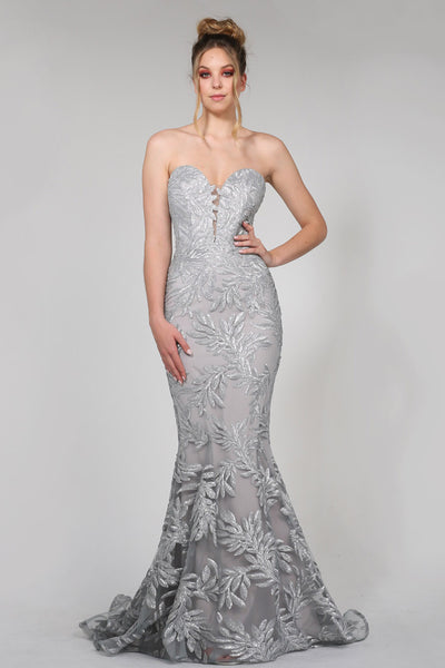 Tina Holly TA107 Pina Gown SILVER