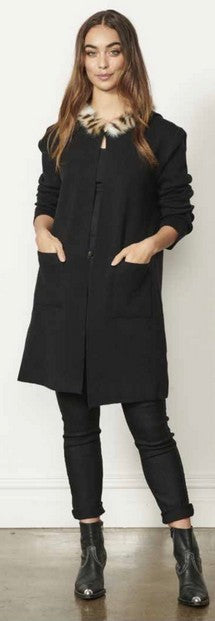 Caju CZ308 Hooded Maxi Cardigan BLACK