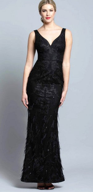 Bariano B36D53L Lisa Gown BLACK
