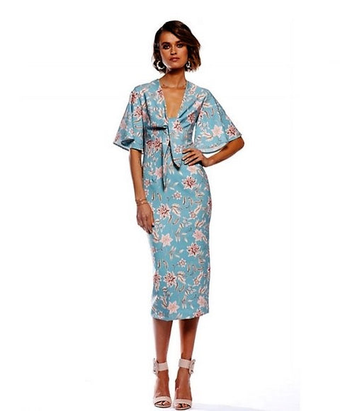 Pasduchas Woodley Sleeve Midi Dress AQUA