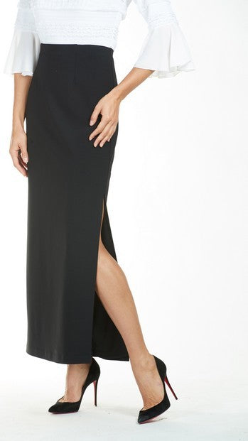 Frank Lyman 185025 Side Split Skirt BLACK