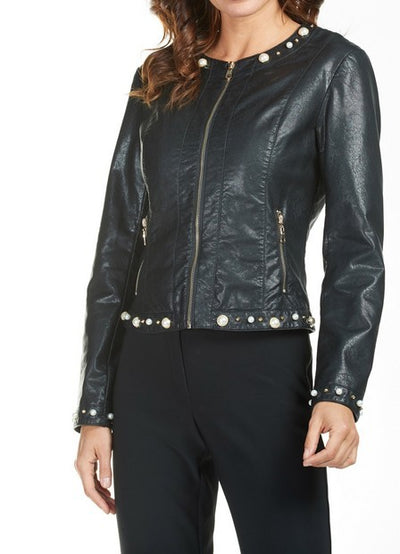 Frank Lyman 185116U Faux Leather Jacket BLACK