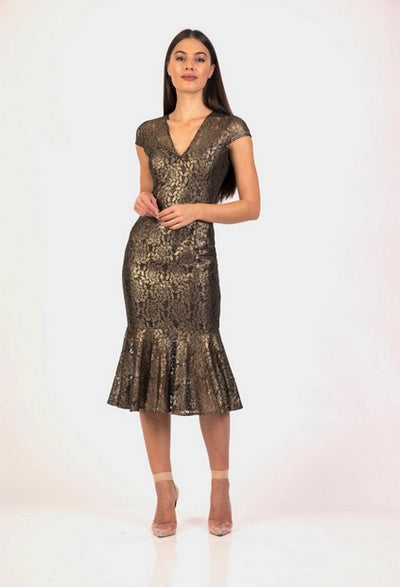 PSM RD204109 Chantel Frill Dress GOLD