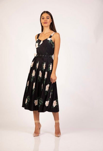 PSM RD204002 Print Ava Dress BLACK