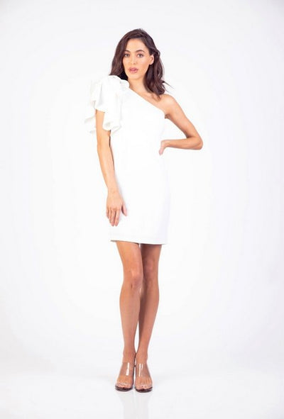 PSM HD204206 Rapture One Shoulder Dress WHITE