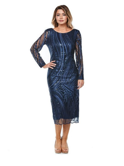 PSM JH0231 Sequin Lace Midi NAVY