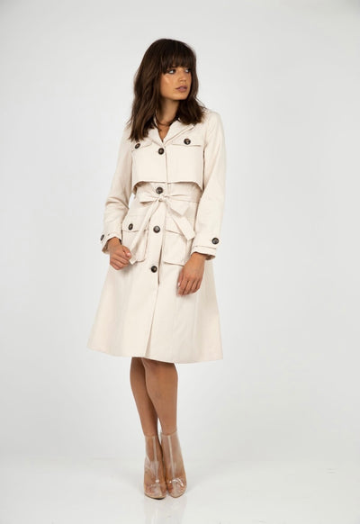 PSM HC212009 Take Me There Trench Coat PEARL