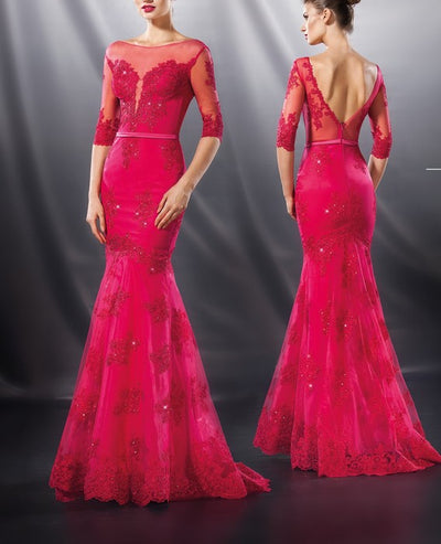 So Lady 4000 Lace Gown FUSCHIA