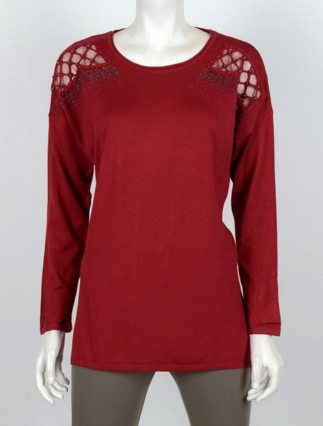 Vedi 3034 Stud Diamond Pullover BORDO